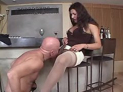 TS n guy suck each other in kitchen